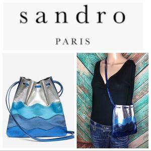 Sandro Jilou Metallic Leather Waves Drawstring Bag